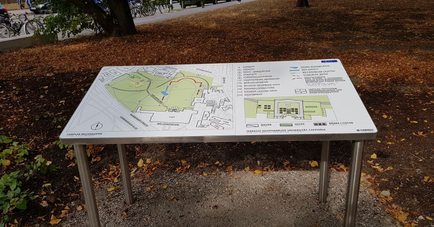 Blindenleitsystem im Park